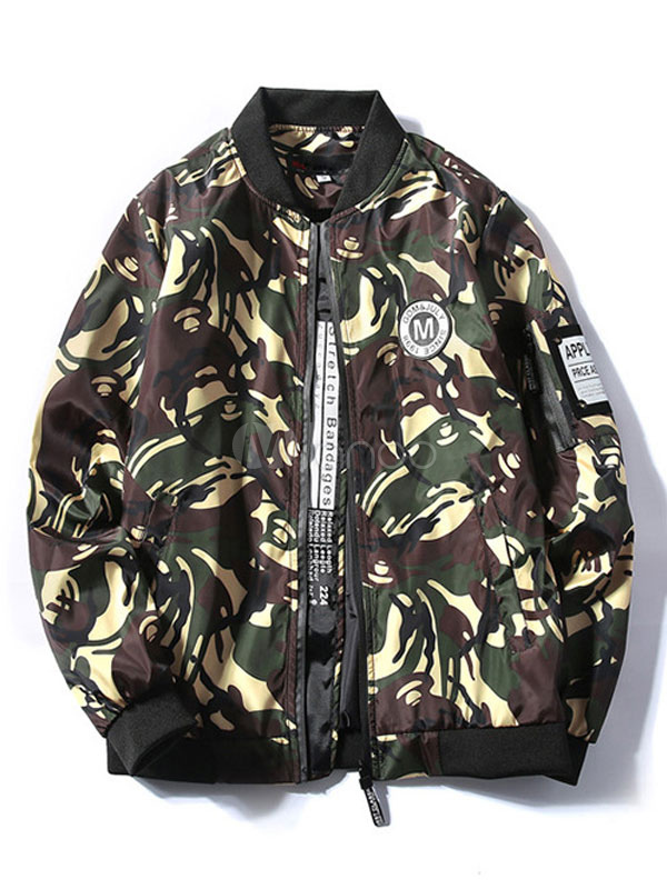 Buy Men's Bomber Jacket Camo Printed Long Sleeve Rib Knit Cuff Stylish Thin Coat for $28.49 in Milanoo store