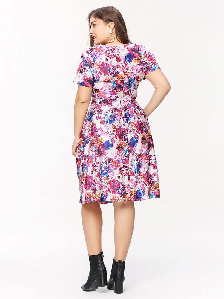 Plus Size Dresses 2 Pcs Fuchsia Floral Women\'s Short Sleeve Tops And Skirts