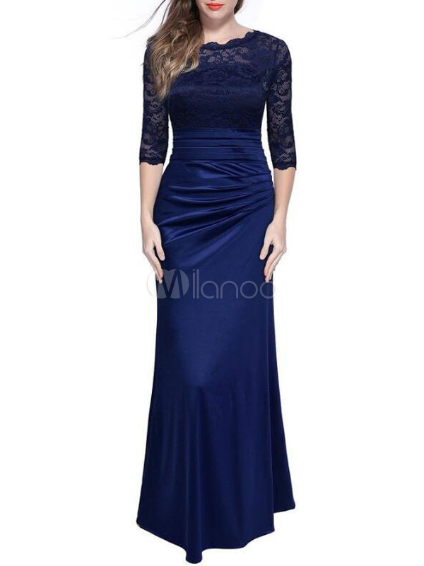 Buy Women's Maxi Dress Lace Round Neck Half Sleeve Ruched Pleated Long Dress for $44.99 in Milanoo store
