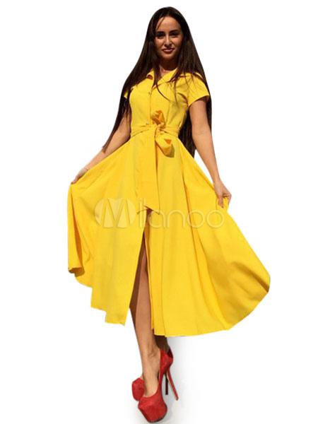 5a4d9a8c33cfe5 Fascinante robe vintage mode Longueur cheville unicolore avec lacets col à  revers street style-No ...
