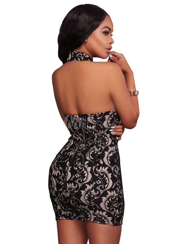 51ecdef80bf7 ... Vestito corto nero di pizzo con collo alto smanicato casuale donna -No.3