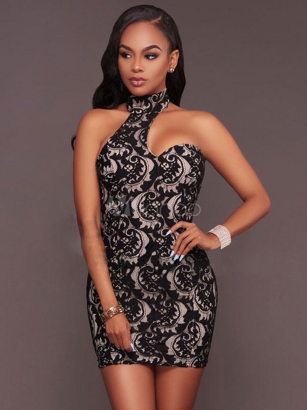96b2efb73b3d Vestito corto nero di pizzo con collo alto smanicato casuale donna -No.1 ...