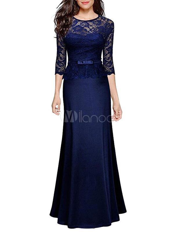 Women's Maxi Dresses Lace Peplum Half Sleeve Dark Navy Long Dress