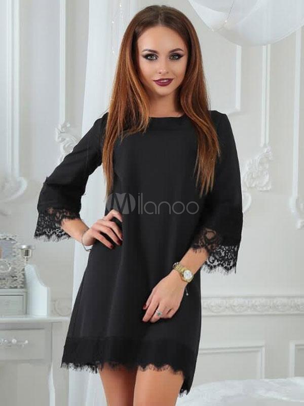 Black Shift Dress Jewel 3/4 Length Sleeve Short Dress For Women Cheap clothes, free shipping worldwide