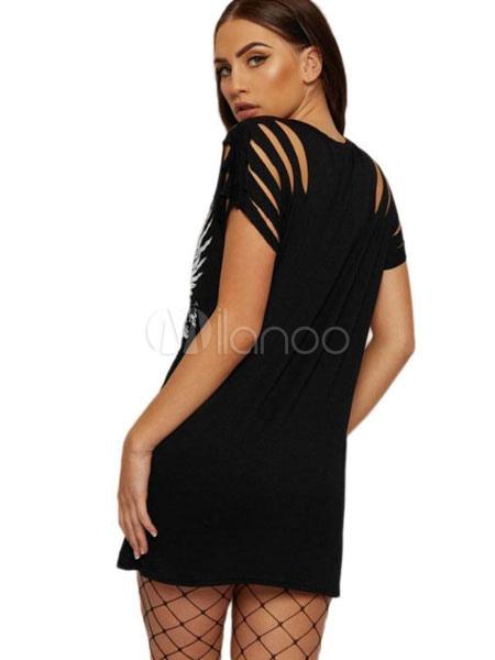 Robe Imprimée Courte T Shirt Robe Chasuble Femme Été - Milanoo.Com
