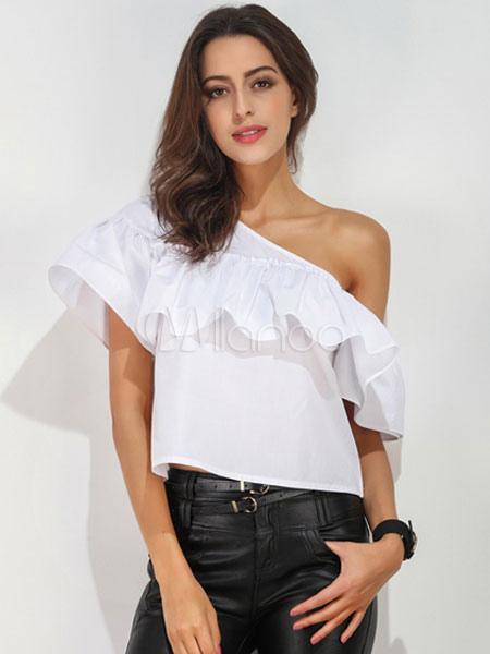 48f0bbdc3b213 Ruffles White Blouses One Shoulder Short Sleeve Women s Summer T Shirt Tops-No.  ...