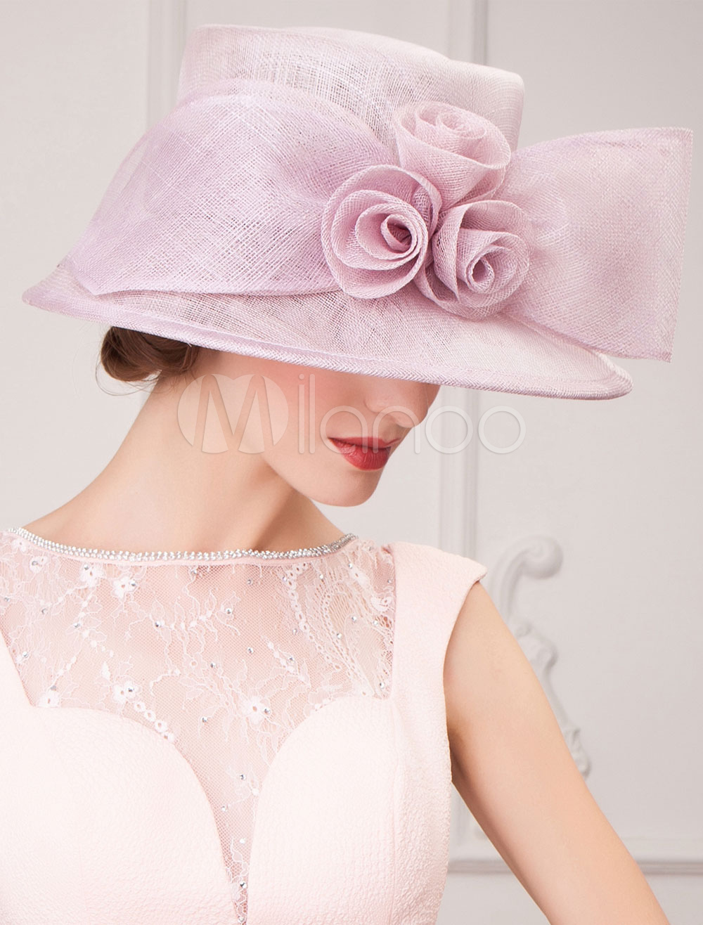 Buy Vintage Costume Hat Royal Nobility Lilac Linen Flower Bow Retro Hat For Women Halloween for $49.39 in Milanoo store