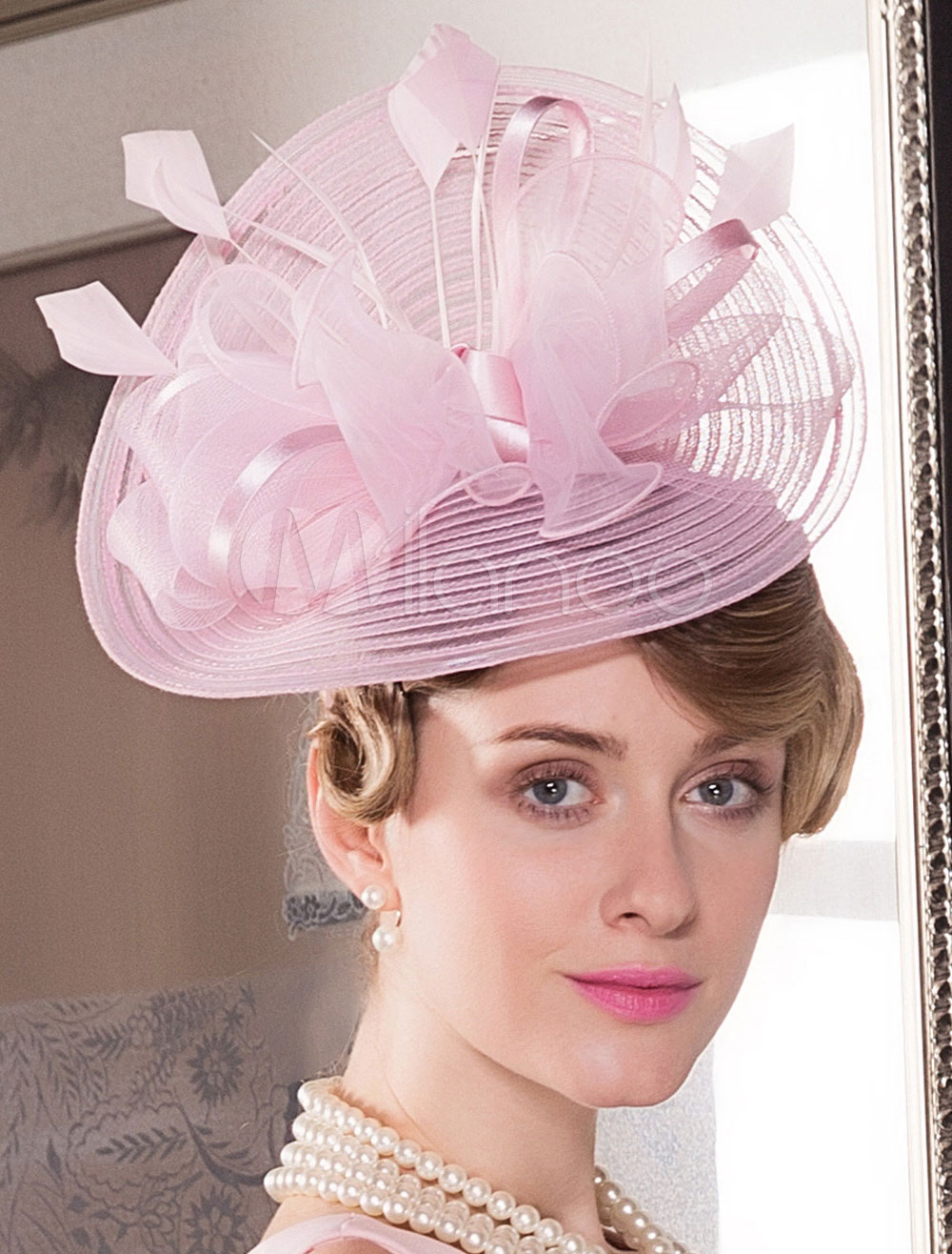 Buy Pink Vintage Hat Women's Bow Feather Retro Costume Hair Accessories Halloween for $26.99 in Milanoo store