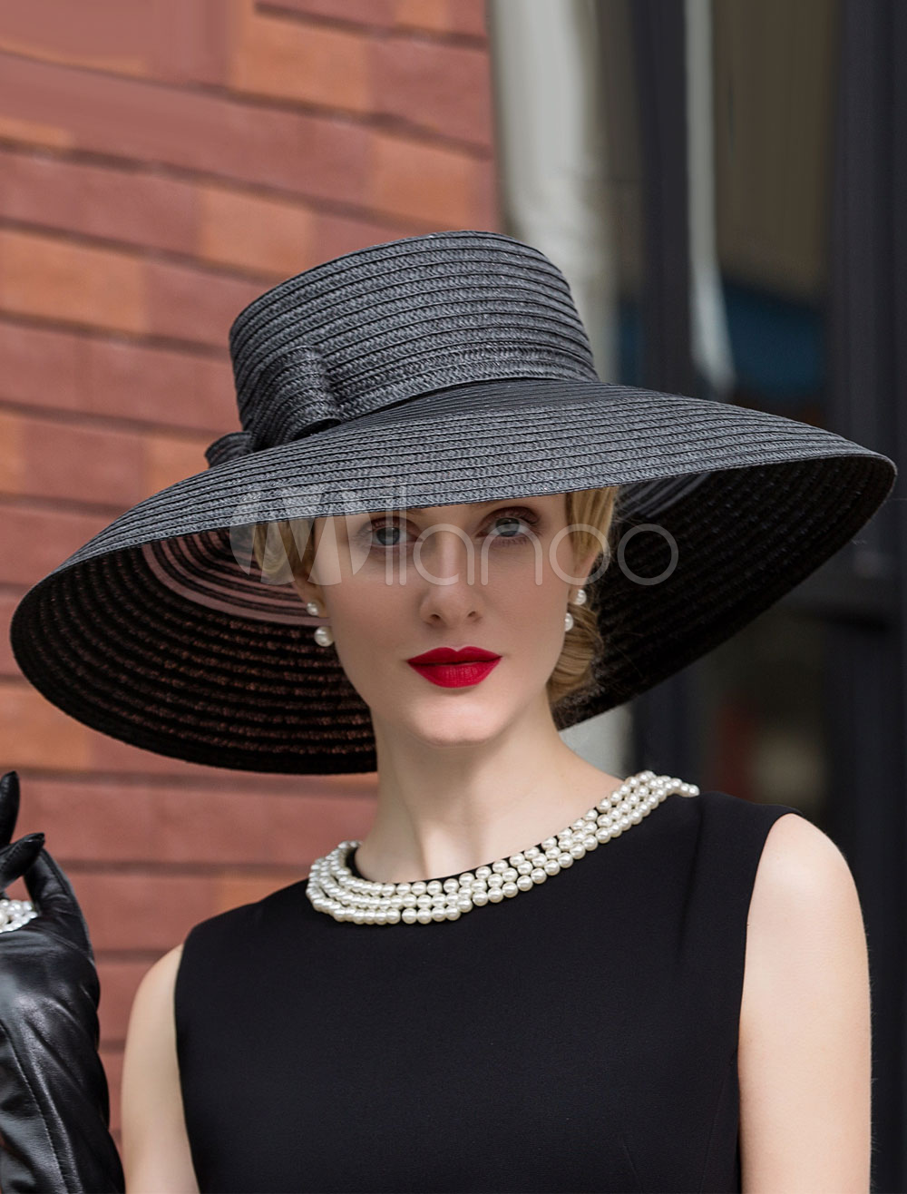 Buy Vintage Costume Hat Black Audrey Hepburn Wide Brim Bow Sun Hat For Women Halloween for $34.99 in Milanoo store