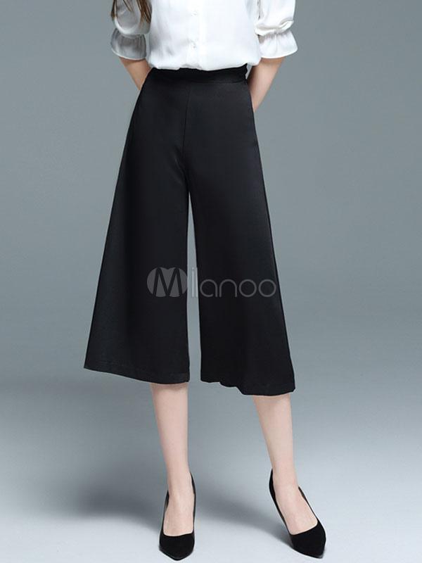 ... Pantalones cortos para mujer Negro Pantalones anchos sueltos de pierna  alta-No.5 ... 554a389bccab0