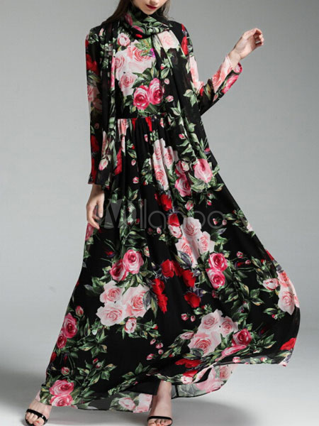 Black Maxi Dress Round Neck Long Sleeve Floral Printed Long Dress With Scarf