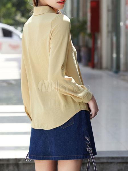 low priced 00dd2 eb75b Camicie gialle femminili Fiori ricamati a maniche lunghe Camicie casual