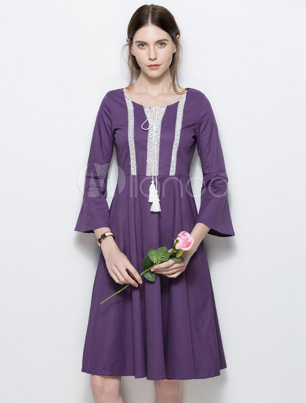 Cotton Skater Dress Purple Tassels Round Neck 3 4 Length Flared ... 56f9a1797
