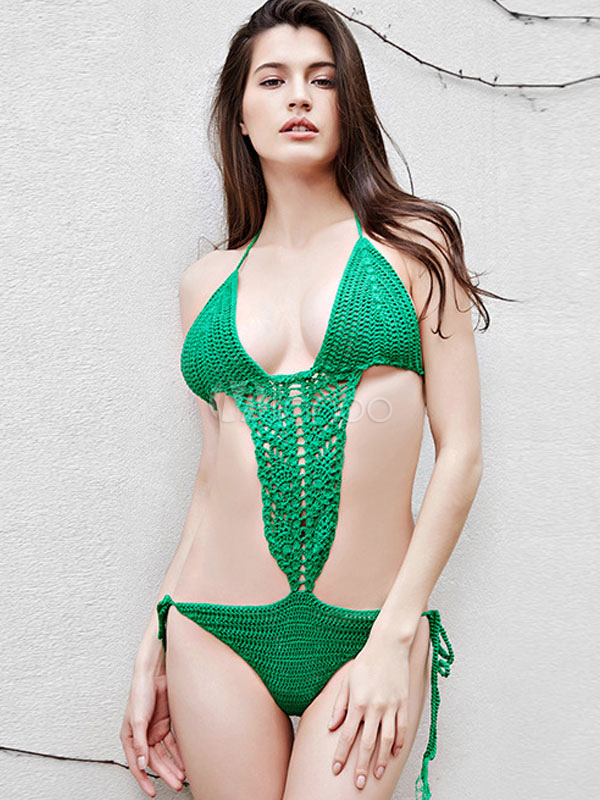 Crochet Monokini Swimsuit Green Womens Knit Beach 1 Piece Bathing