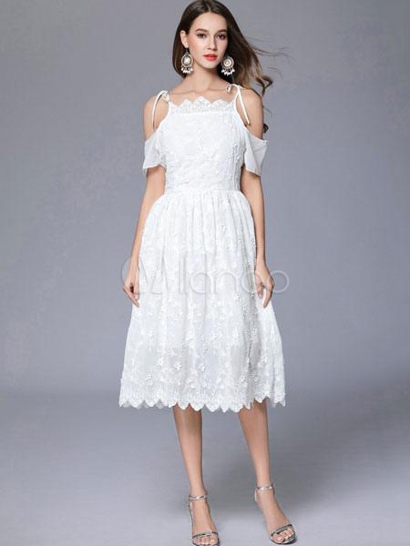 Lace White Dress Off The Shoulder Women s Short Sleeve Summer Skater Dresses -No. ... 175e78877