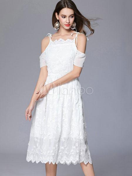 ... Lace White Dress Off The Shoulder Women s Short Sleeve Summer Skater  Dresses-No.4 9551a8120