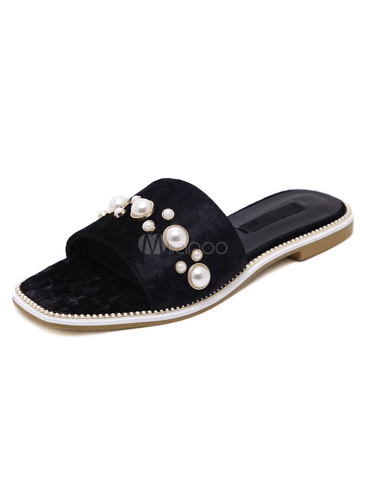 ... Женские сандалии Тапочки махровые жемчуг бисером глубокий коричневый  плоский Тапочки-No.2 ... 0b7e81270dc