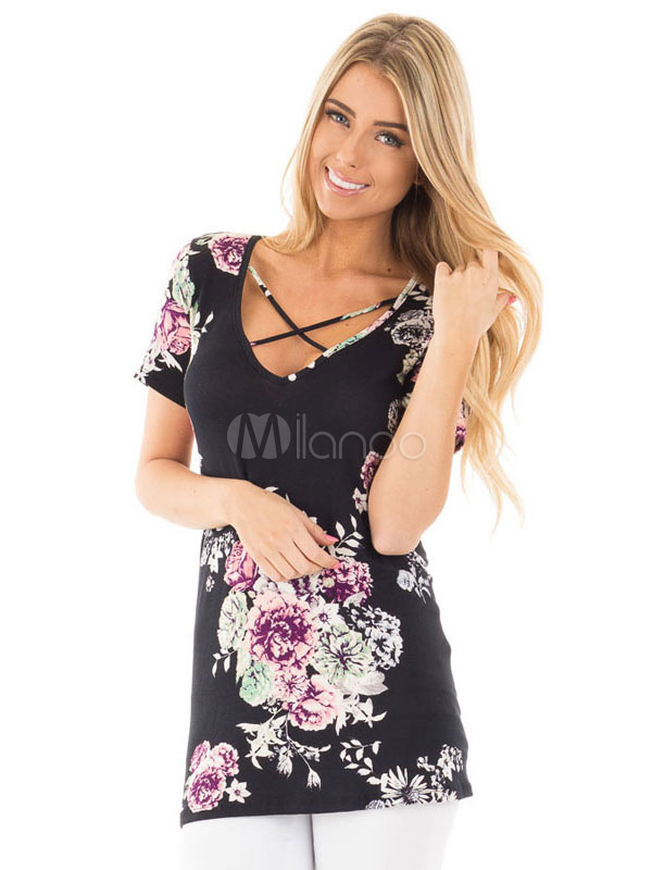 Buy Floral Print T Shirts Criss Cross Women's Short Sleeve Summer T Shirt Tops for $14.24 in Milanoo store