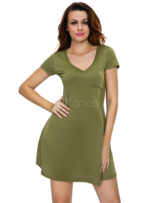 Olive T Shirt Dress Short Sleeve V Neck Women s Summer Short Dresses ... 780d2a6d8d