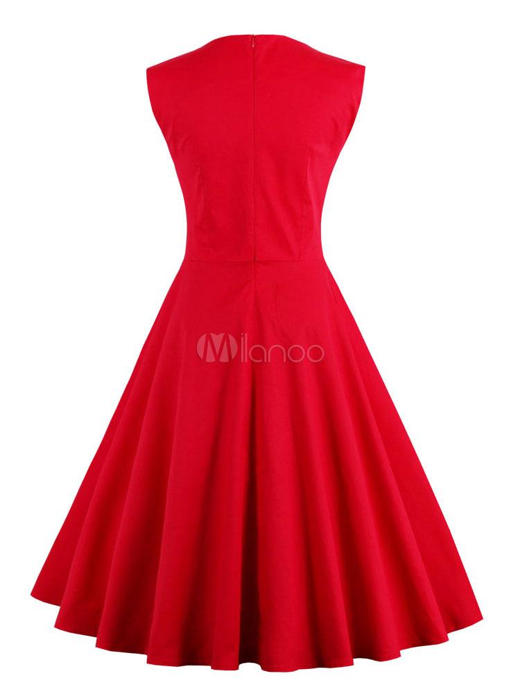 Red Vintage Dresses Sweatheart Sleeveless Pleated Womens Retro