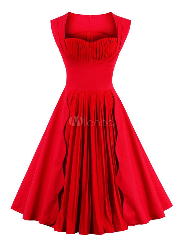 Red Vintage Dresses Sweatheart Sleeveless Pleated Women's Retro Dress