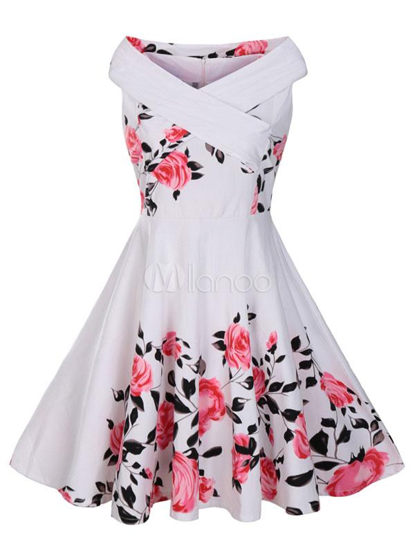 White Vintage Dress Women's Designed Neckline Sleeveless Floral Printed Pleated Skater Dress