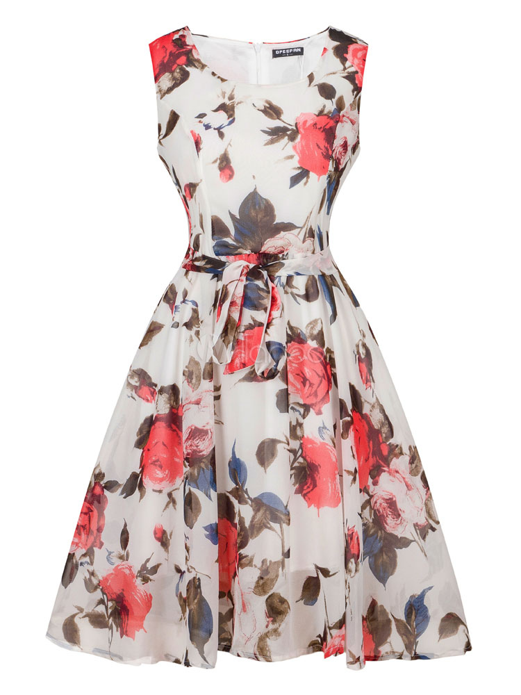 Buy White Skater Dress Round Neck Sleeveless Floral Printed Pleated Flare Dress for $28.49 in Milanoo store