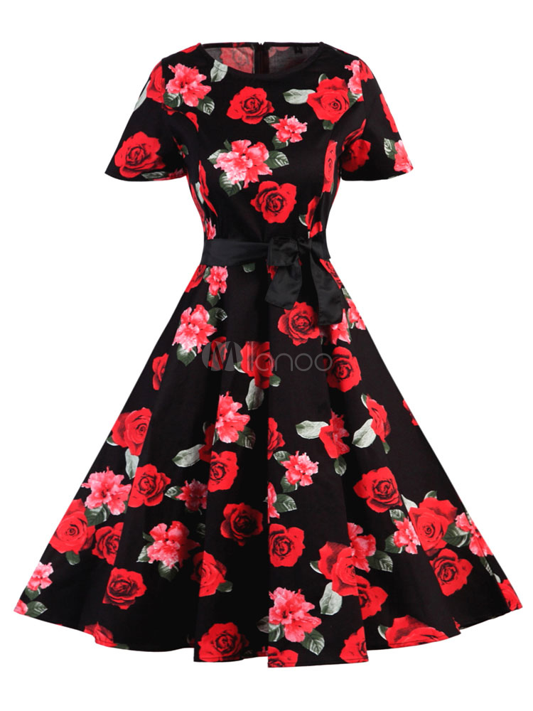 Buy Black Vintage Dress Floral Printed Round Neck Short Sleeve Bow Sash Pleated Slim Fit Skater Dress for $33.24 in Milanoo store