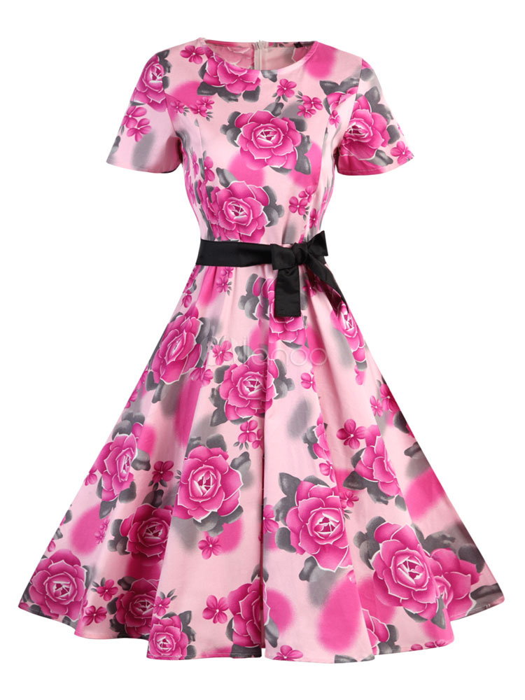 Buy Pink Vintage Dress Round Neck Short Sleeve Floral Printed Bow Sash Pleated Slim Fit Skater Dress for $33.24 in Milanoo store