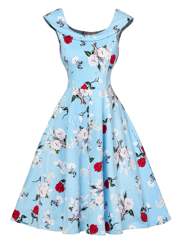 Buy Women's Vintage Dress Light Blue Round Neck Short Sleeve Floral Printed Pleated Skater Dress for $35.99 in Milanoo store