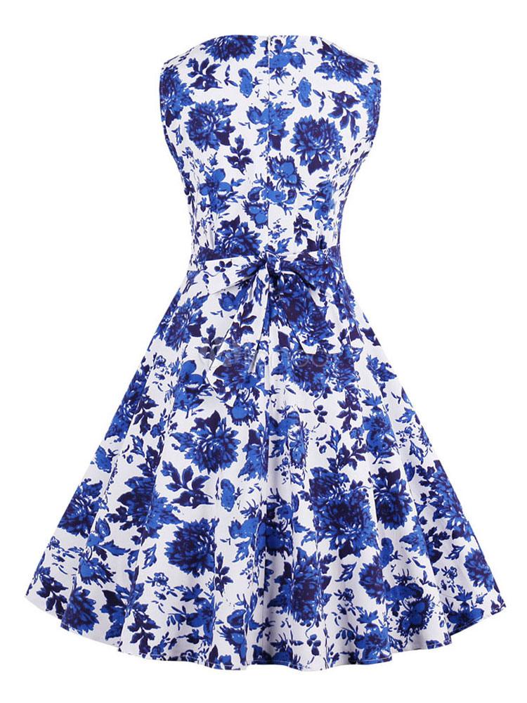 Vestido vintage azul con escote redondo sin mangas con estampado de ...