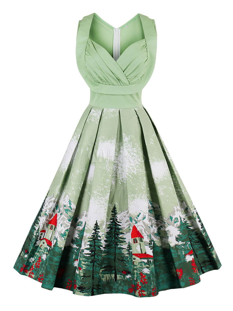 Buy Floral Vintage Dresses V Neck Pleated Light Green Women's Sleeveless Printed Retro Dress for $34.99 in Milanoo store