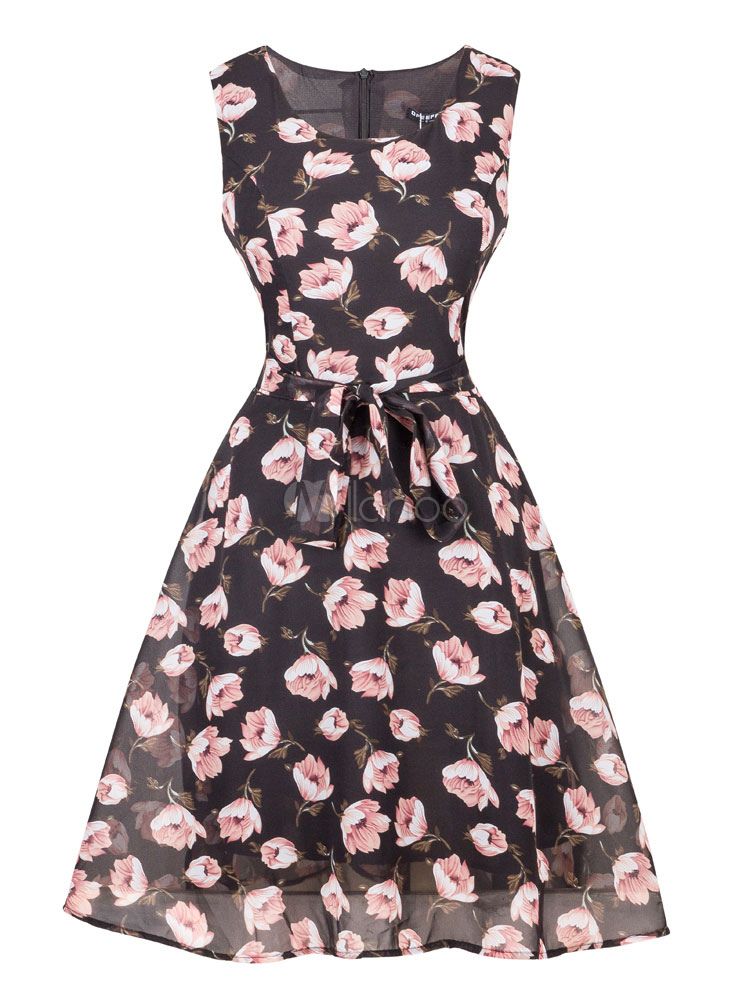 Buy Chiffon Skater Dress Vintage Round Neck Floral Printed Sleeveless Black Pleated Flare Dress for $29.99 in Milanoo store