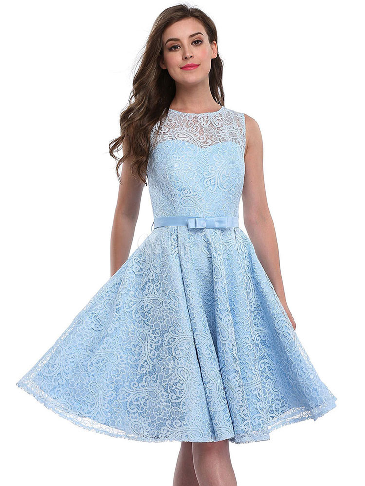 Buy Lace Skater Dress Round Neck Backless Sleeveless Ribbon Bow Pleated Blue A Line Flare Dress for $37.99 in Milanoo store