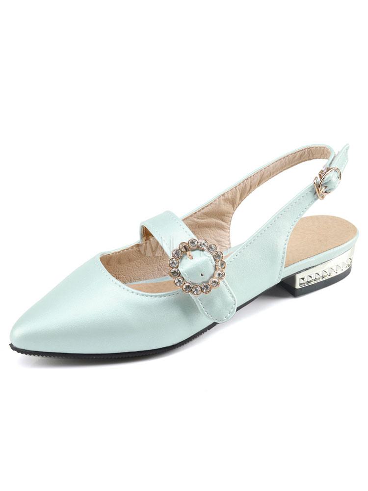 Zapatos planos Planos con cinta ajustable de puntera puntiaguada para mujer estilo moderno Color liso para pasar por la noche ZjvA30TM3o