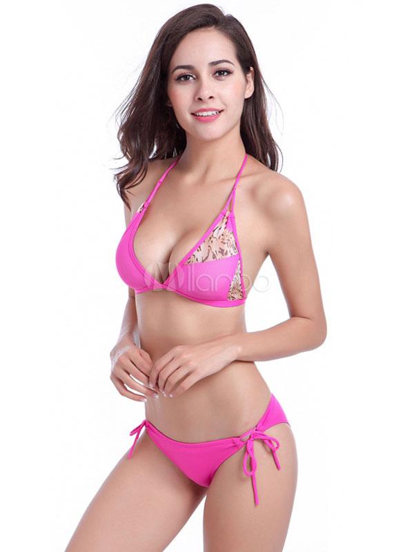 Halter Bikini Set Pink Women's Beach Summer Bathing Suits