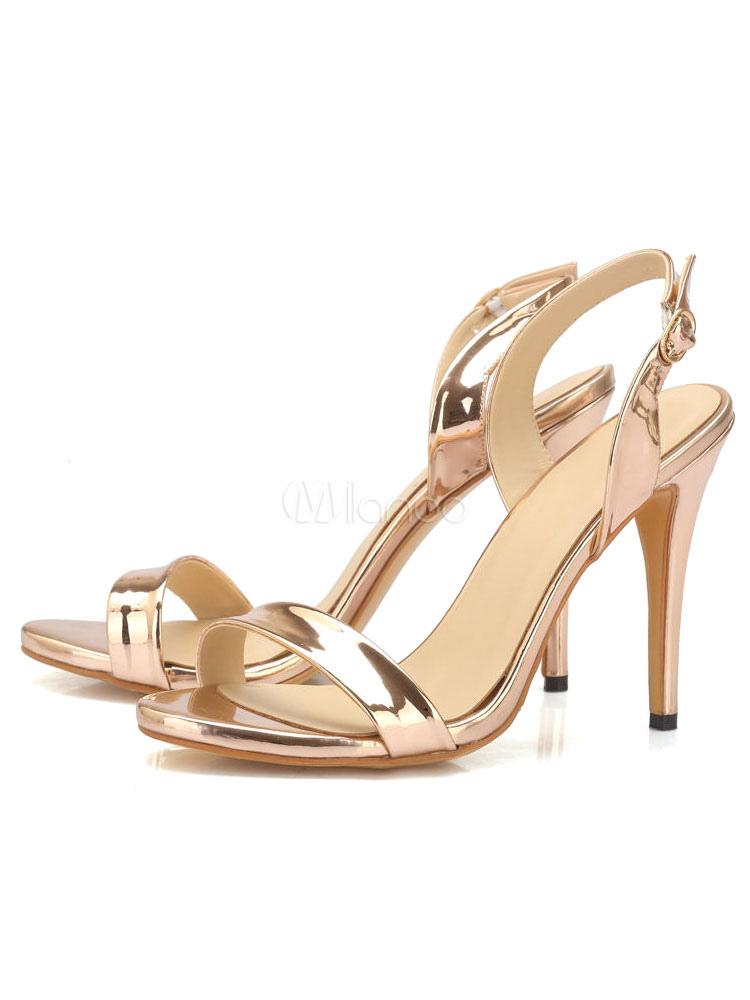 Buy High Heel Sandals Women Dress Sandals Champagne Open Toe Slingbacks Sandal Shoes for $47.49 in Milanoo store
