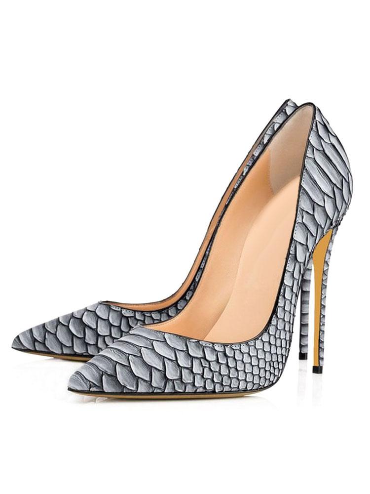 Zapatos de tacón de puntera puntiaguada de PU con estampado de serpiente de tacón de stiletto 25Gc9qS