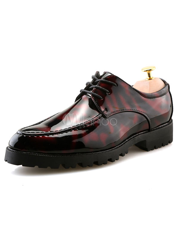 Burgundy Casual Shoes Pointed Toe Lace Up Flat Shoes For Men