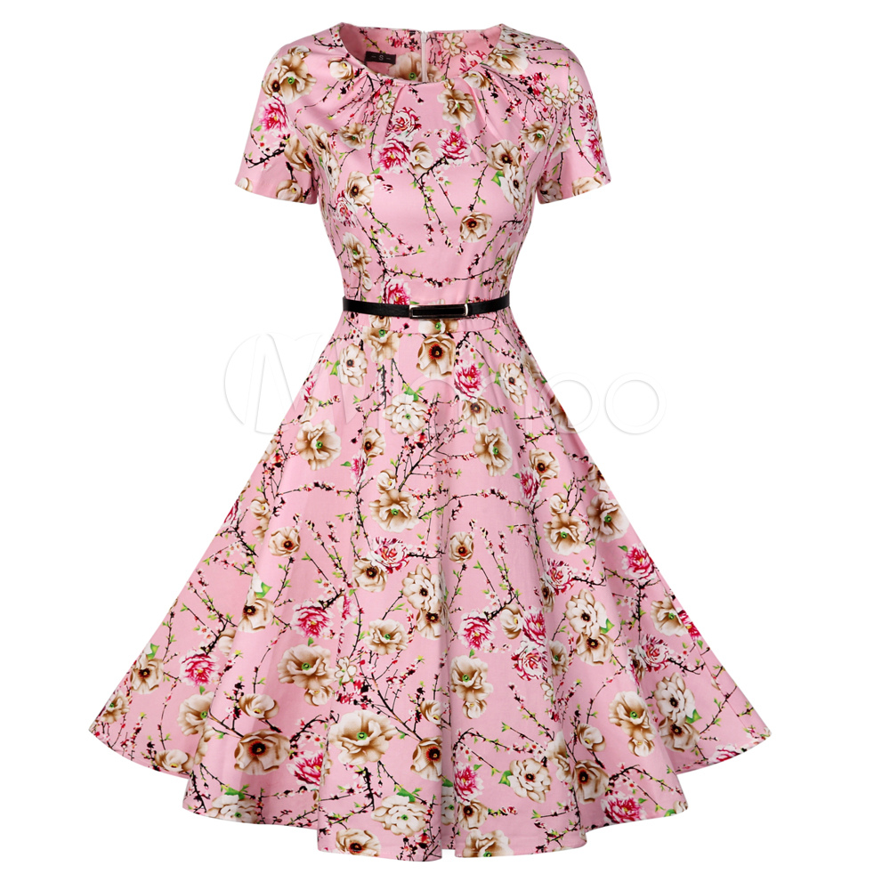 Buy Women's Vintage Dress Soft Pink Round Neck Short Sleeve Floral Printed Pleated Skater Dress With Belt for $33.24 in Milanoo store