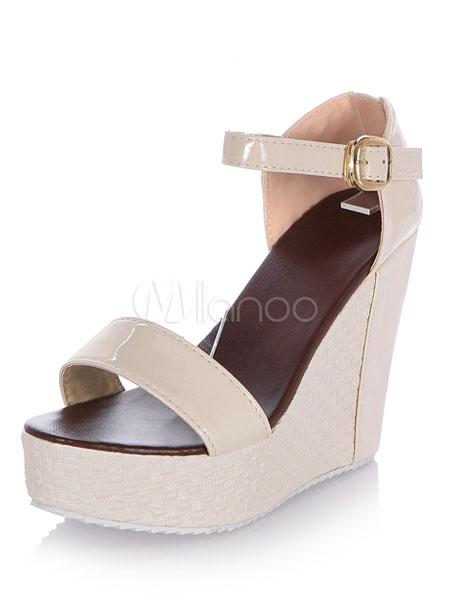 3f49f9dd695d Women s Wedge Sandals Ecru White Platform PU Buckled Sandal Shoes-No. ...
