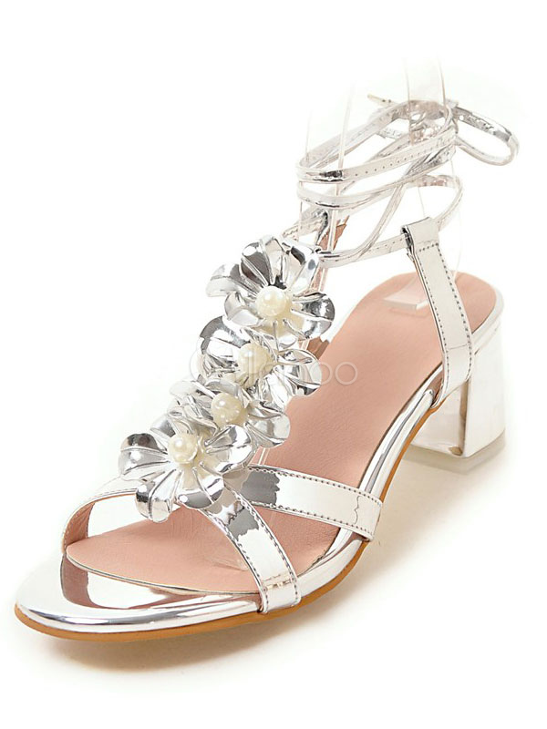 bed246fba97 Gold Strappy Sandals Chunky Heel Metallic Flowers Beaded Lace Up Sandal  Shoes-No.1 ...