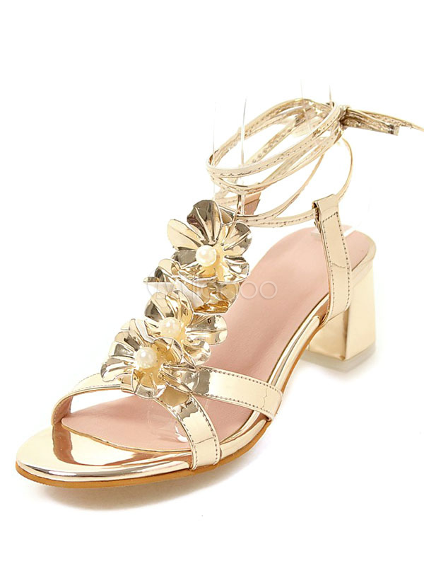 772af26bda5 ... Gold Strappy Sandals Chunky Heel Metallic Flowers Beaded Lace Up Sandal  Shoes-No.2 ...