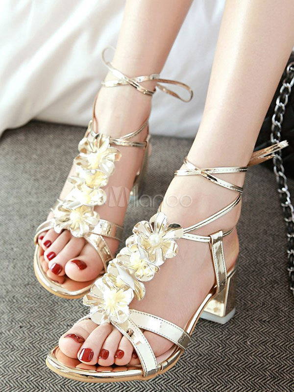 4949e09ce09 ... Gold Strappy Sandals Chunky Heel Metallic Flowers Beaded Lace Up Sandal  Shoes-No.5 ...