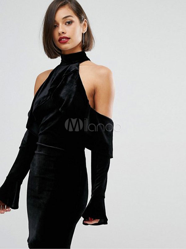 Buy Black Bodycon Choker Dress Cold Shoulder Velour High Collar Long Sleeve Women's Sheath Dress for $22.49 in Milanoo store
