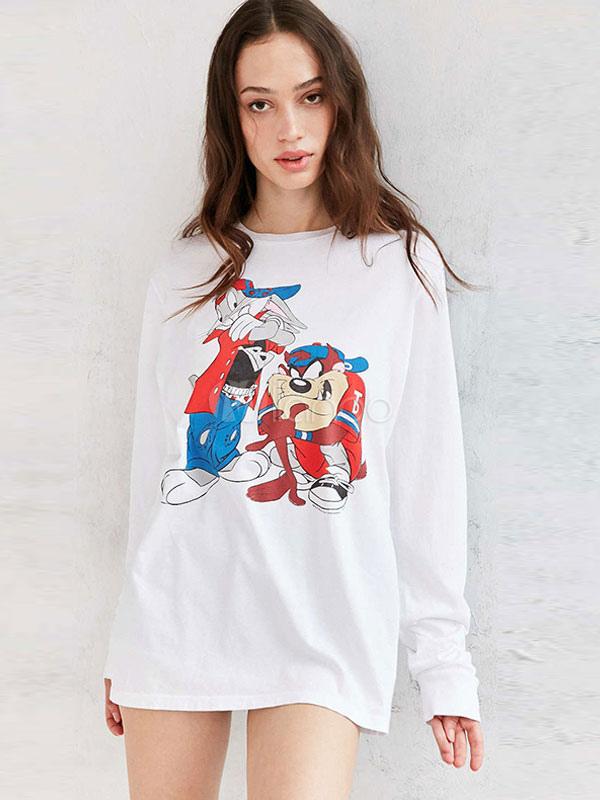 b2125e5f2320 White T Shirt Dress Cartoon Characters Printed Women's Long Sleeve Summer  ...