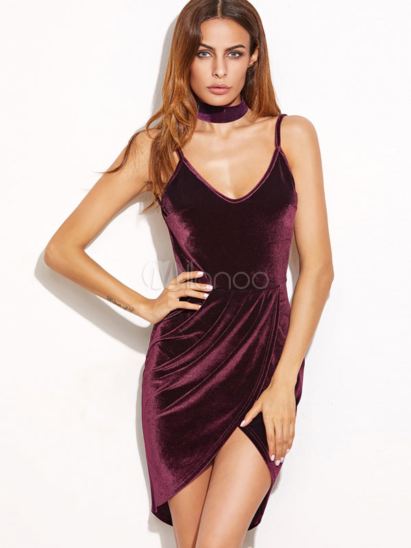 Buy Women's Slip Dress U Neck Spaghetti Strap High Low Backless Draped Bodycon Club Dress for $19.54 in Milanoo store