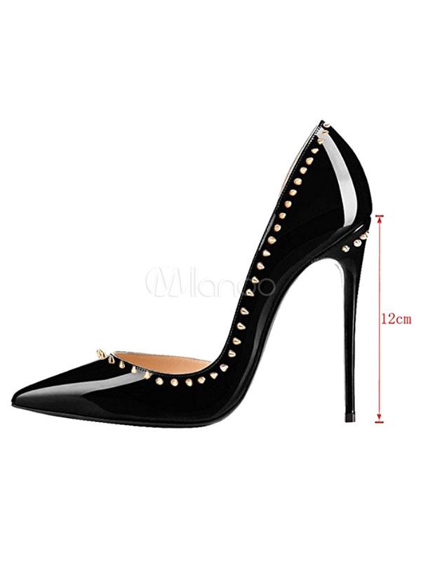 Zapatos de tacón de puntera puntiaguada Charol PU negros Color liso con remache de tacón de stiletto os0N9