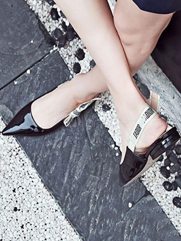 Zapatos planos de puntera puntiaguada de slingback Planos para mujer para pasar por la noche estilo moderno con letras DiZcxGvHv