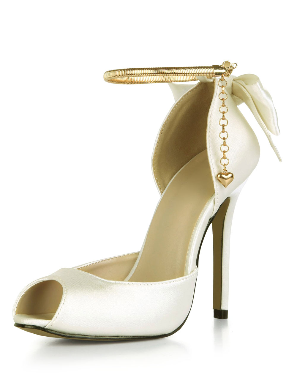Ivory Wedding Shoes Satin High Heel Peep Toe Bow Ankle Strap Bridal Pumps